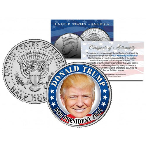 DONALD TRUMP For President Colorized Official Half Dollar U.S. CAMPAIGN Coin