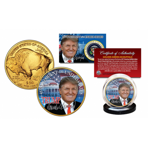 DONALD TRUMP 45th President 2017 24K Gold Plated $50 AMERICAN GOLD BUFFALO Indian Tribute Coin