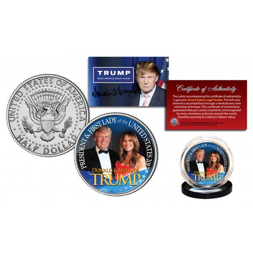 DONALD & MELANIA 45th President & First Lady JFK Half Dollar U.S. Coin