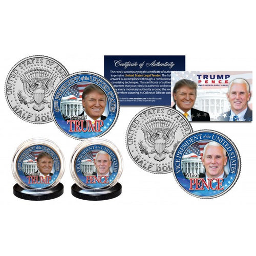 DONALD TRUMP & MIKE PENCE Official U.S JFK Half Dollar 2-Coin Set