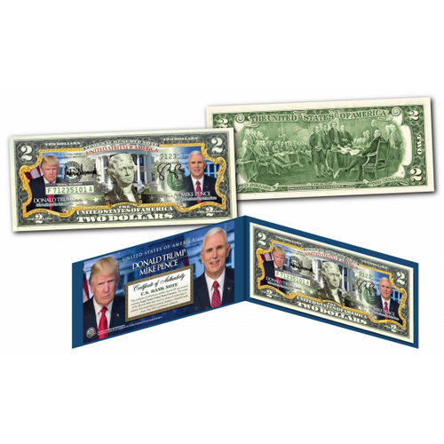 DONALD TRUMP & MIKE PENCE *OFFICIAL PORTRAITS * U.S. $2 Bill