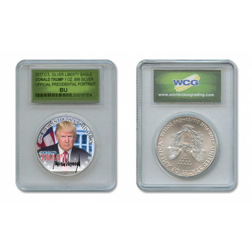DONALD TRUMP 45th President OFFICIAL PORTRAIT 1 oz. SILVER EAGLE in SPECIAL HOLDER