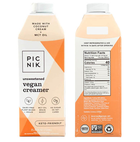 Picnik Vegan Creamer front and back of box with nutrition panel