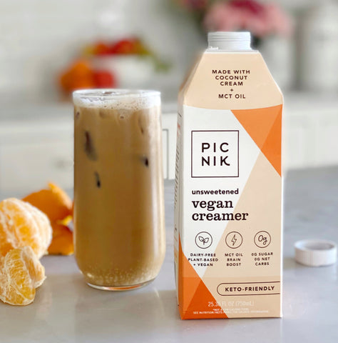 Picnik Vegan Creamer in tall glass of iced coffee
