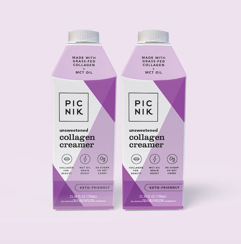 Picnik Collagen Creamer 2-pack made with cashew cream, collagen, coconut milk. Keto-friendly and unsweetened