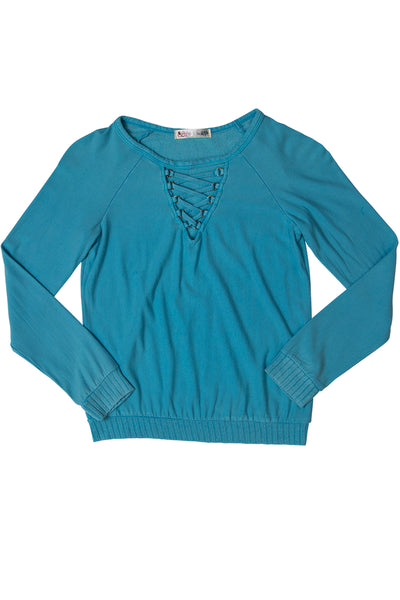 Lace-up Neck Sweatshirt