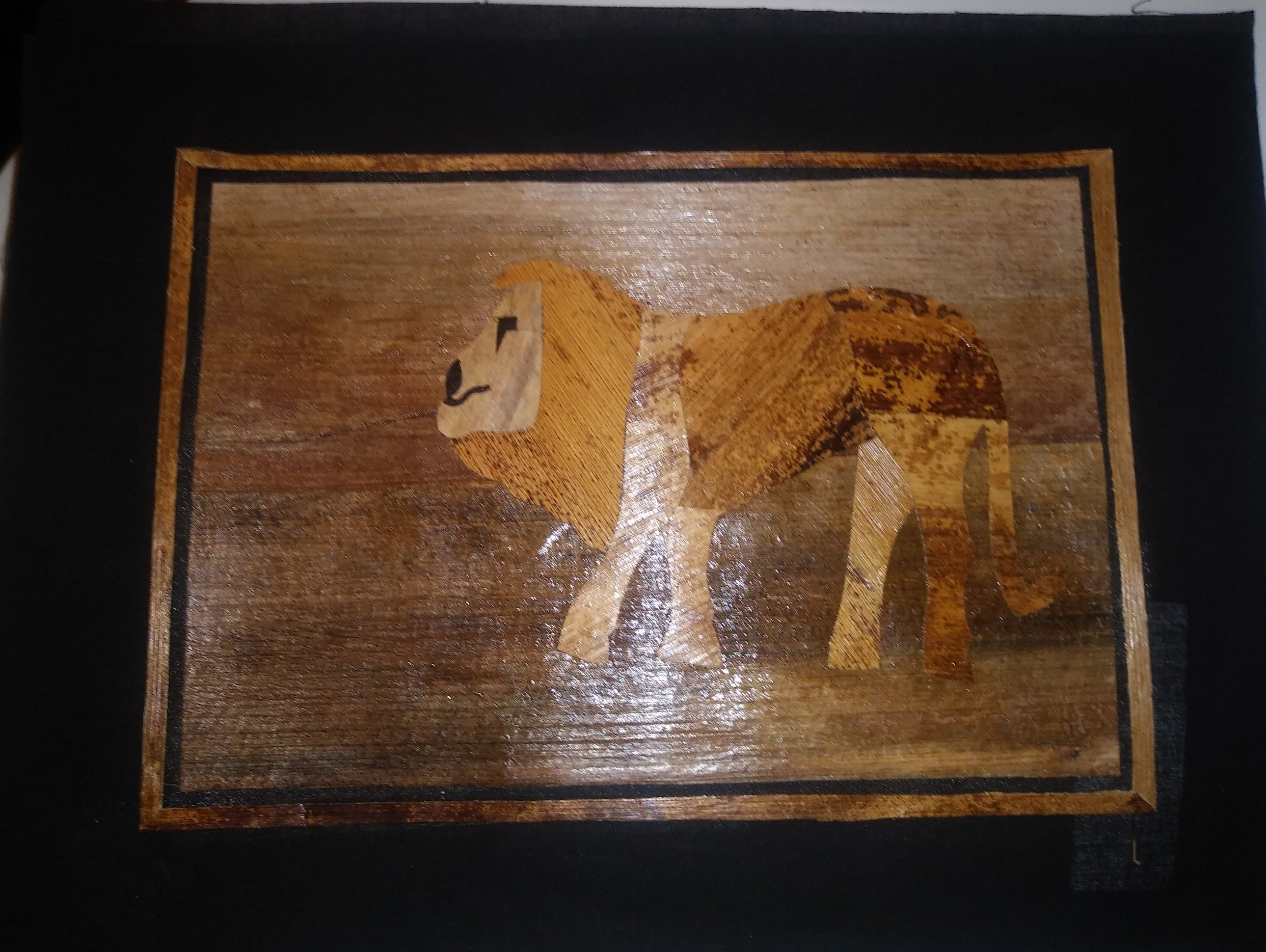 Lion Banana Leaf Painting