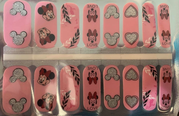 PInk Minnie Glitter Nail Wraps #314