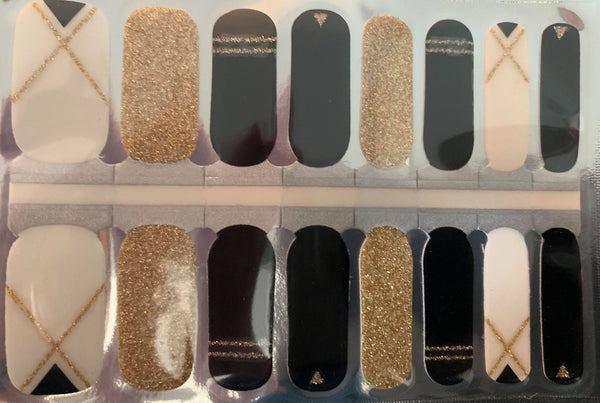Black/White/Gold Nail Wraps #284