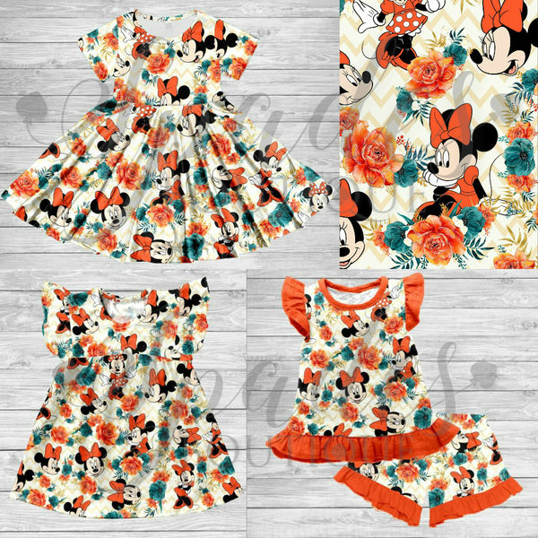 #3184- Orange Floral Minnie