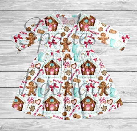 RTS- Gingerbread House Dress Long Sleeve Size 6/7