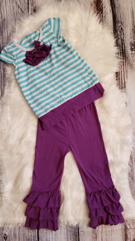 GU #6- 4T - purple / blue stripe outfit