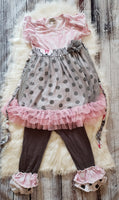 GU #27 -Size 8: ADORA-Bay Pink / brown polka dot outfit