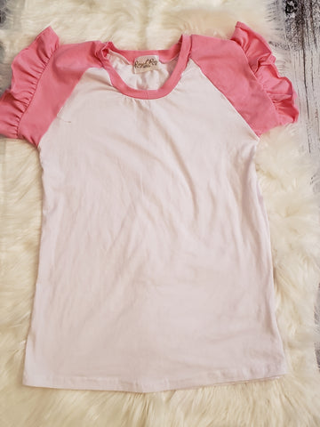RTS- Size 10/12 - White/pink Flutter Top