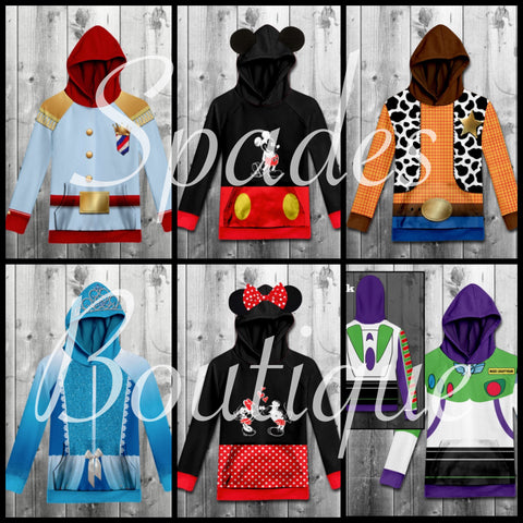 RTS- Character Hooded Shirts #1 KIDS