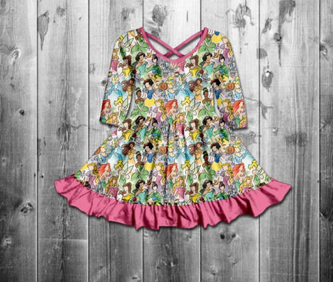 2020- Princess Drawings Kids Dress