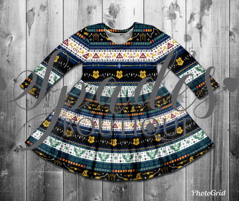 RTS- Harry Potter Christmas Sweater Kids Twirl Dress