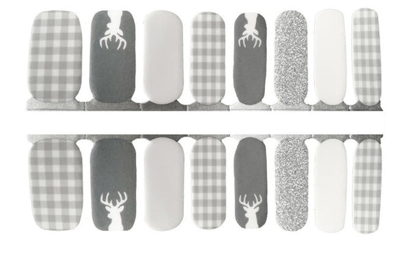 Grey and White Plaid Nail Wraps #15