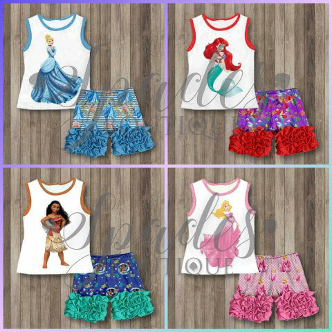 #1358- Princess Shorts Sets 2