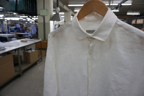 Mens white linen shirt