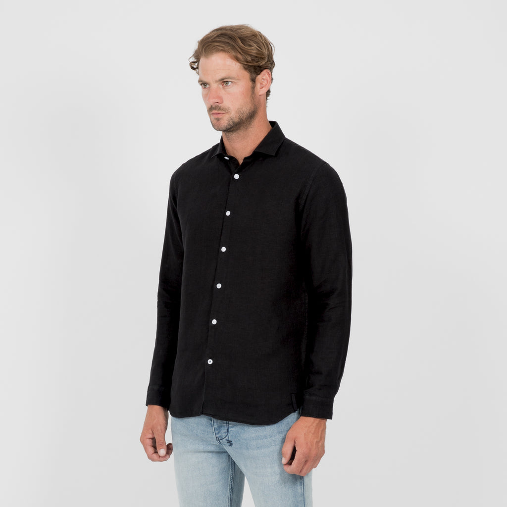 Mens Linen Shirt - Black