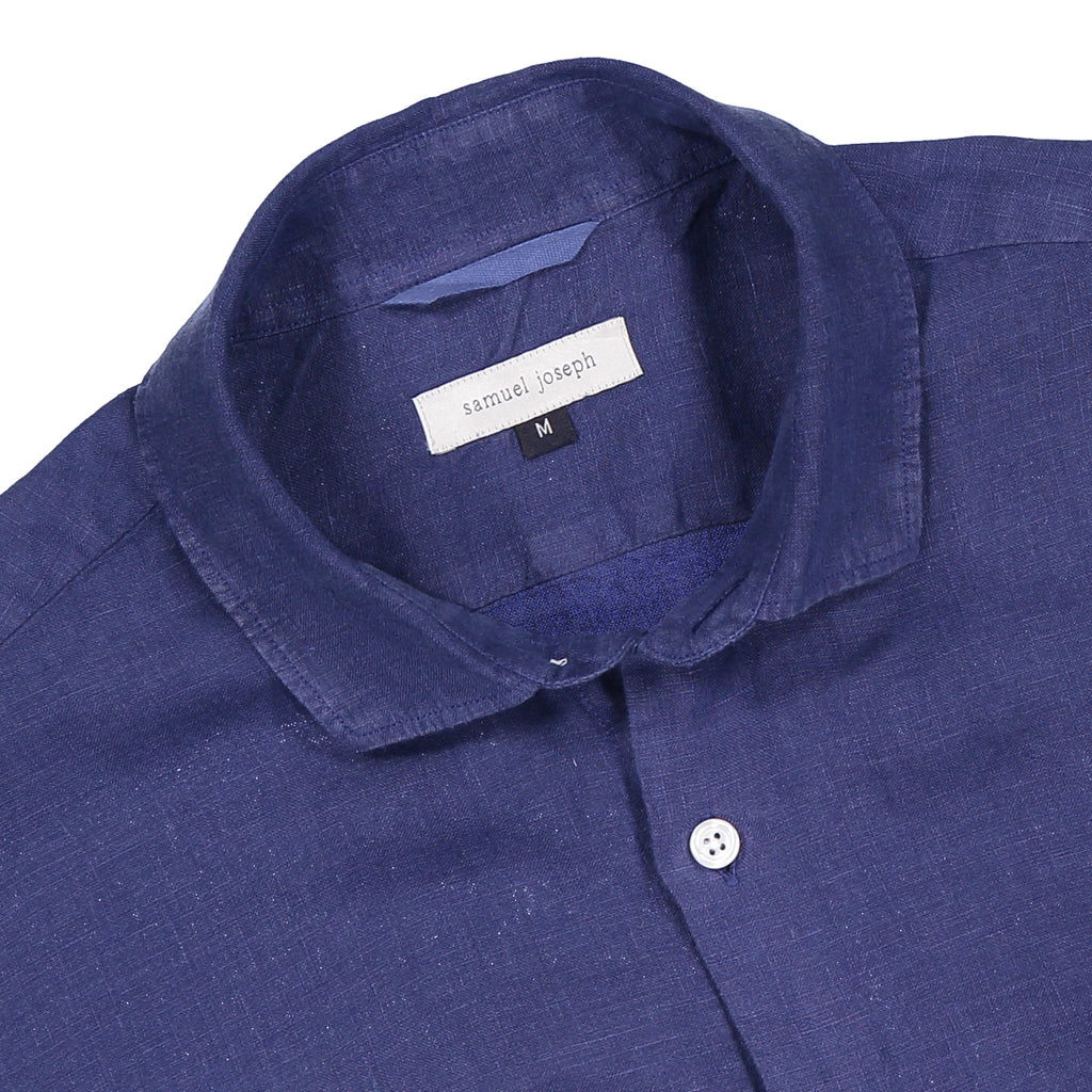 Mens Linen Shirt - Midnight Blue