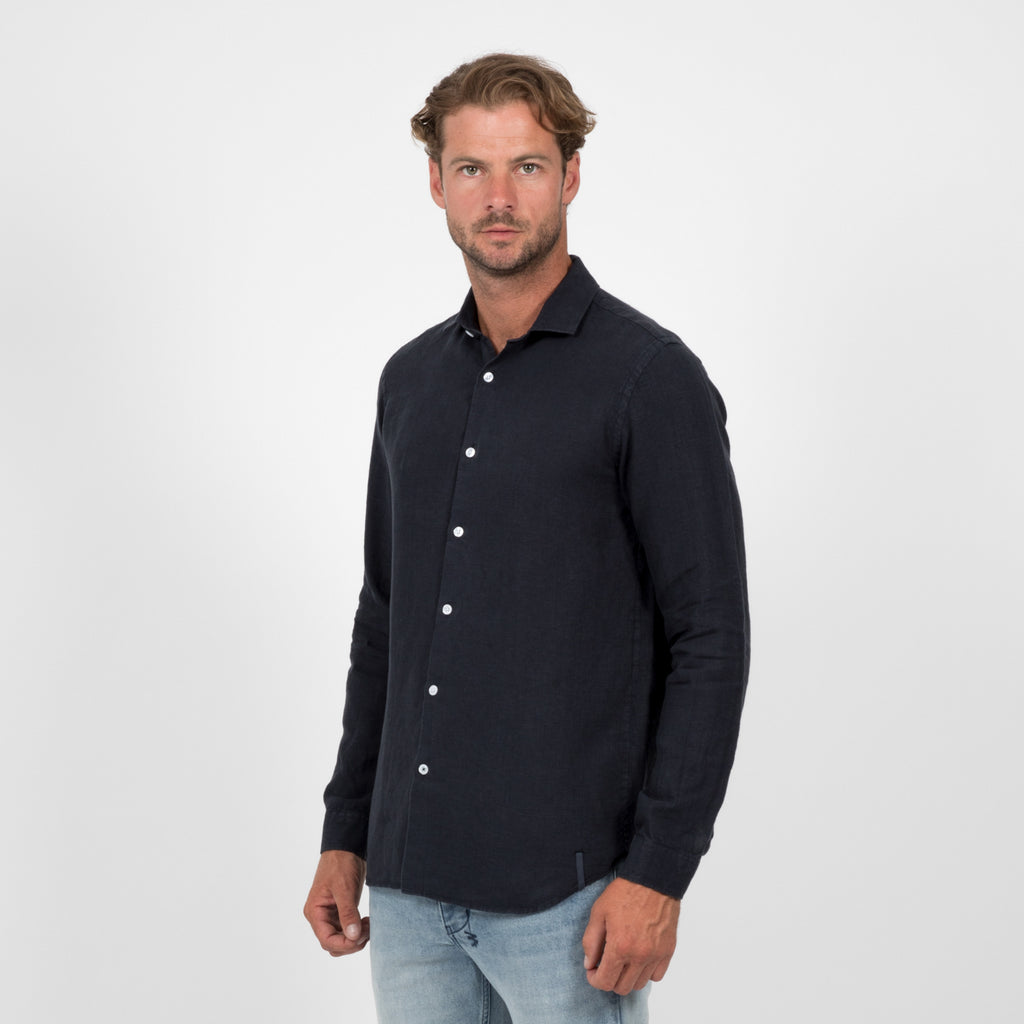 Mens Linen Shirt - Navy Ink