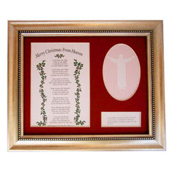 Merry Christmas From Heaven Remembrance Version 8 x 10 Red Matte Framed Poem w/picture Retired - Centerville C&J Connection, Inc.