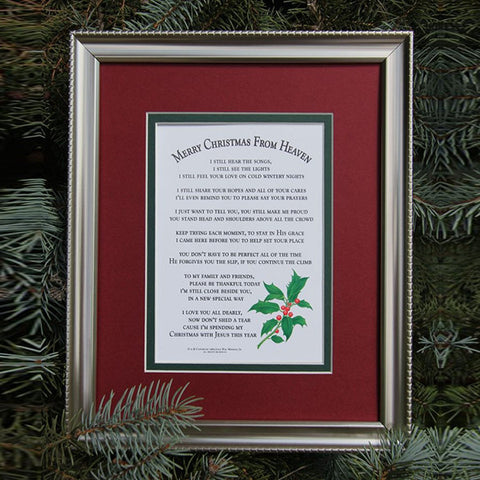 merry christmas from heaven matte framed poem centerville cj connection