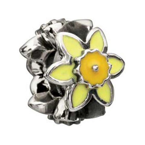 Silver Enameled Daffodil Bead - Chamilia - Centerville C&J Connection, Inc.