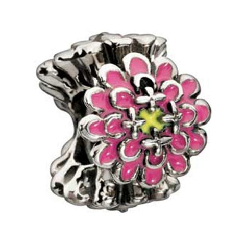 Pink Blooming Zinnia Enameled Bead - Chamilia - Centerville C&J Connection, Inc.