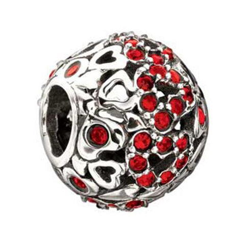 Captured Hearts Red Swarovski Bead - Chamilia - Centerville C&J Connection, Inc.