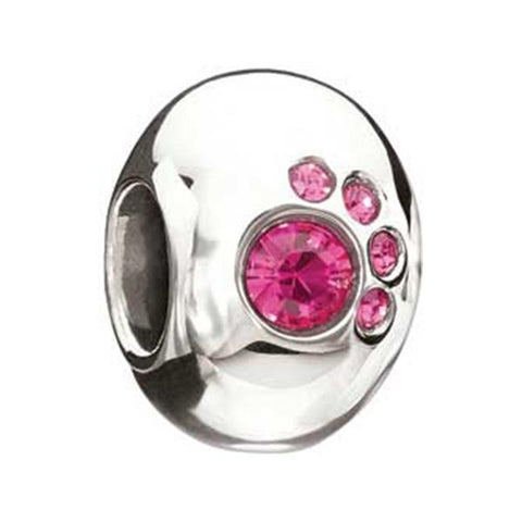 Crystal Paw Fuschia Swarovski - Chamilia Bead - Centerville C&J Connection, Inc.