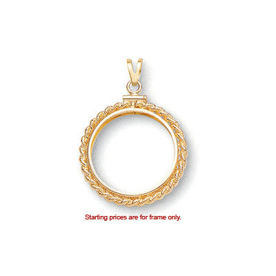 14k solid Yellow gold 4-Prong Coin Bezel Frame 1//10 oz American Eagle  #4