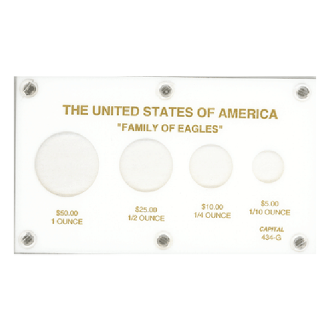 American Family Of Eagles 1 oz. - 1/10 oz. Capital Plastics Coin Holder - White - Centerville C&J Connection, Inc.