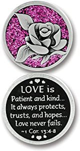 Love is Patient Enameled Companion Coin / Pocket Token PT662 - Centerville C&J Connection, Inc.