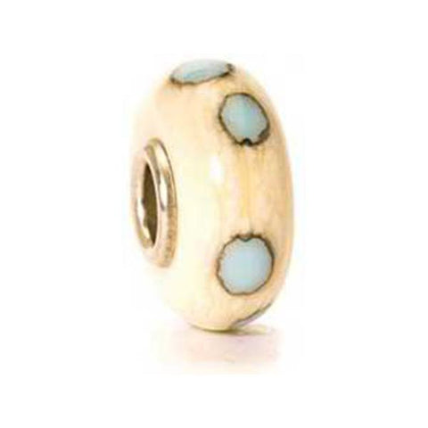 Beige Blue Dot - Trollbeads Glass Bead - Centerville C&J Connection, Inc.