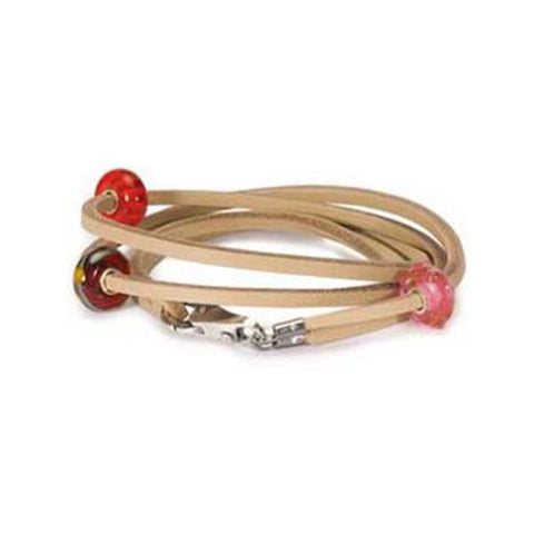 Leather Bracelet, Beige 16.1 Inch - Trollbeads - Centerville C&J Connection, Inc.