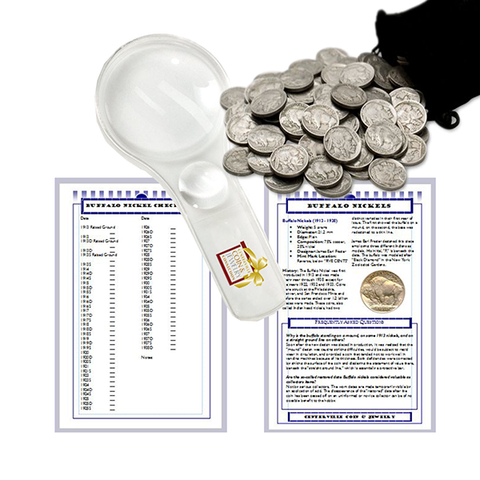 Buffalo Nickel Starter Collection Kit, 100 Full Date Buffalo/Indian Nickels, Magnifier & Checklist - Centerville C&J Connection, Inc.