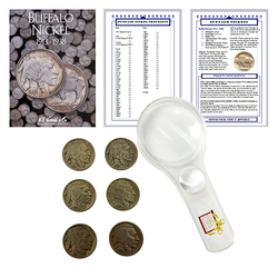 Buffalo Nickel Starter Collection Kit, H.E. Harris [2678] Buffalo Nickel Folder 1913-1938, Six Buffalo/Indian Nickels, Magnifier and Checklist, (9 Items) Great Start for Beginner Collectors - Centerville C&J Connection, Inc.