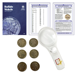 Buffalo Nickel Starter Collection Kit, Whitman [9008] Buffalo Nickel Folder 1913-1938, Six Buffalo/Indian Nickels, Magnifier and Checklist, (9 Items) Great Start for Beginner Collectors - Centerville C&J Connection, Inc.