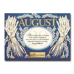 August BIRTHVERSE Bible Birthday Greeting Card - Centerville C&J Connection, Inc.