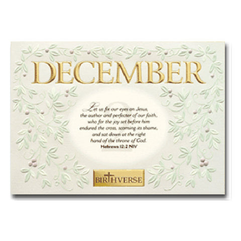 December BIRTHVERSE Bible Birthday Greeting Card - Centerville C&J Connection, Inc.