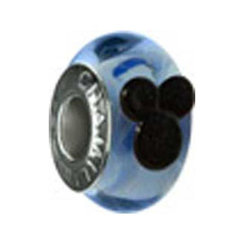 Disney Silver Mickey Murano Glass Blue Bead - Centerville C&J Connection, Inc.