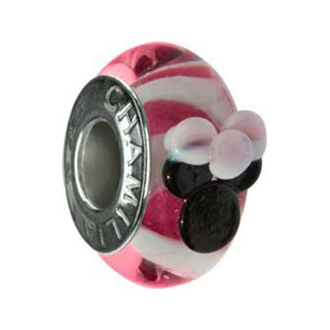 Disney Silver Minnie Murano Glass Pink Bead - Chamilia - Centerville C&J Connection, Inc.