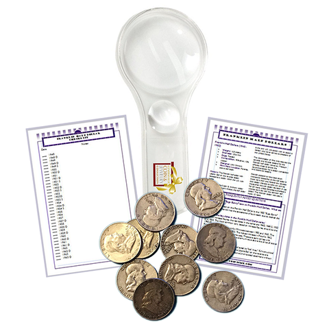 Silver Franklin Half Dollar Starter Collection Kit, Ten Circulated Silver Halves Magnifier and Checklist, (12 Items) Great Start for Beginner Collectors - Centerville C&J Connection, Inc.