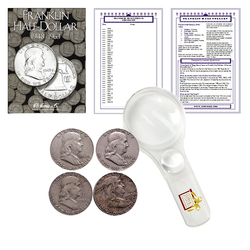 Franklin Half Dollar Starter Collection Kit, H.E. Harris [2695] Franklin Half Dollar Folder 1948-1963, Four Silver Halves, Magnifier and Checklist, (7 Items) Great Start for Beginner Collectors - Centerville C&J Connection, Inc.