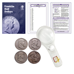 Franklin Half Dollar Starter Collection Kit, Whitman [9032] Franklin Half Dollar Folder 1948-1963, Four Silver Halves, Magnifier and Checklist, (7 Items) Great Start for Beginner Collectors - Centerville C&J Connection, Inc.