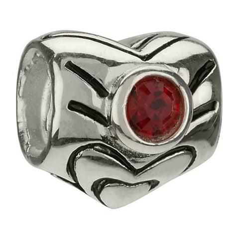 January Garnet Swarovski Heart Bead - Chamilia - Centerville C&J Connection, Inc.