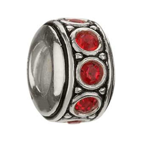 July Ruby Red Swarovski Wheel Bead - Chamilia - Centerville C&J Connection, Inc.